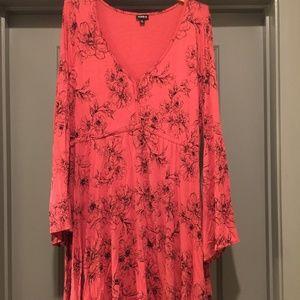 Torrid Coral/Orange Bell-sleeve Dress Size 2